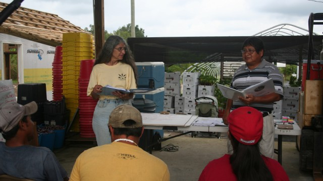 As part of preparing for the Food Justice Certification, farmworkers at The Family Garden farm receive training from the Farmworker Association of Florida on their rights under the law and under the Food Justice Certification.